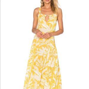 ADRIANA DEGREAS Tropical Leaves Maxi Dress S